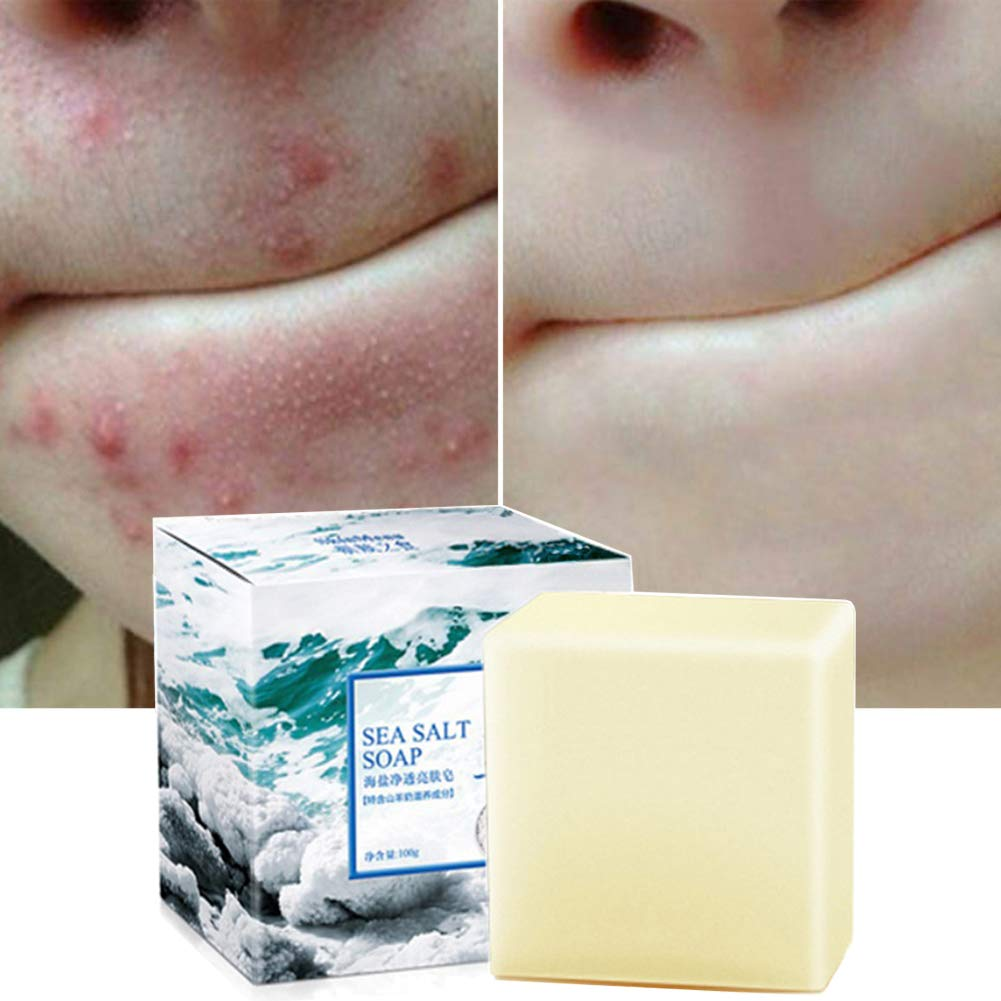 Amazon Com Soap With Sea Salt Natural Goat S Milk For Face Dry And Natural Oily Skin Remove Acne Anti Cellulite Soap 3 52 Oz Beauty