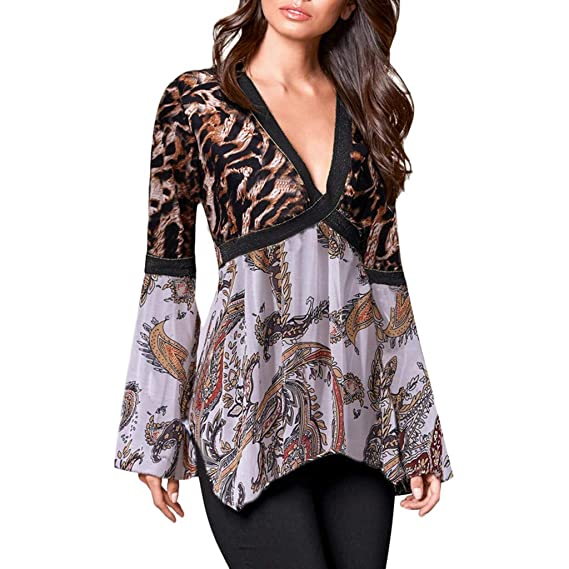 Luckycat Camisas y Blusas para Mujer Leopard Print Sexy con Cuello en V Top  Cruzar Twisted a53f2e44bad