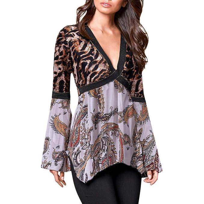 Luckycat Camisas y Blusas para Mujer Leopard Print Sexy con Cuello en V Top Cruzar Twisted
