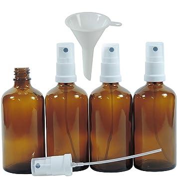 Viva Haushaltswaren – 4 x farmacia de pulverizador 100 ml de color marrón cristal, botellas de cristal ...