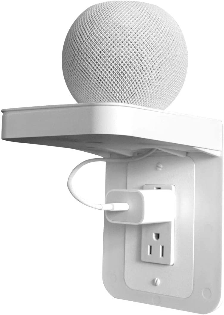 Apple Homepod Mini Wall Mount,Outlet Shelf Holder, Power Perch with Built-in Cable Management,A Space Saving Solution for Homepod Mini.Google Home/Echo/Speakers/Electric Toothbrush (White, Decora)
