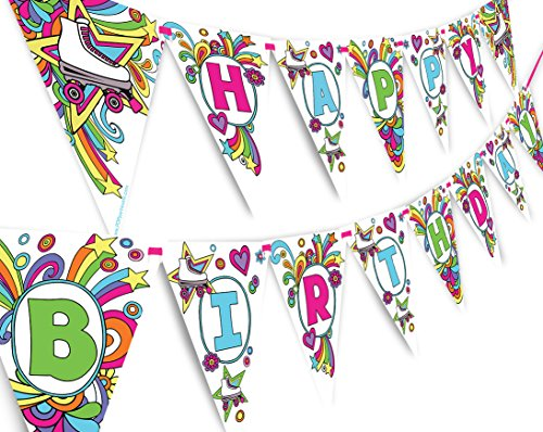 Roller Skating Rainbow Happy Birthday Banner Pennant -