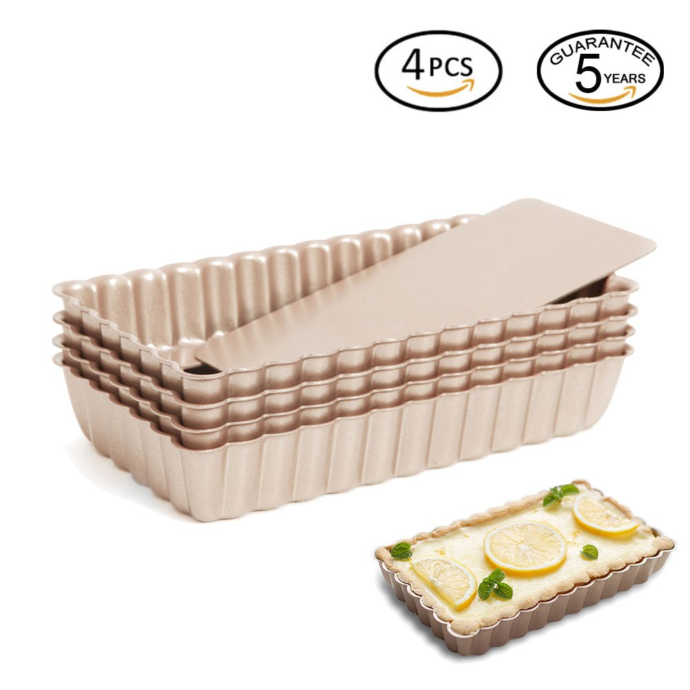 Lufeiya Mini Rectangular Fluted Tarte Pans 4 Inch 4Pcs Removable Bottom Nonstick Pies Tins Set by