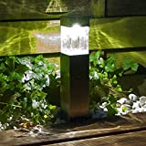 Solar Pathway Lights Outdoor Decorations Home Decor Decorative Garden Path Bollard Light Stakes Deal of The Day Prime Today Bright 10Lumen Stainless Steel Landscape Lighting for Walkway Driveway 2Pack