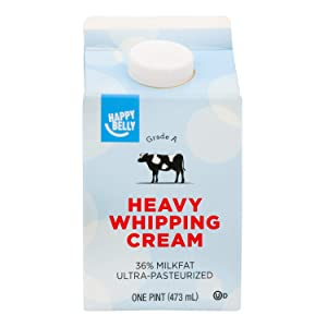 Amazon Brand - Happy Belly Heavy Whipping Cream, Ultra-Pasteurized, Kosher, Pint, 16 Ounces