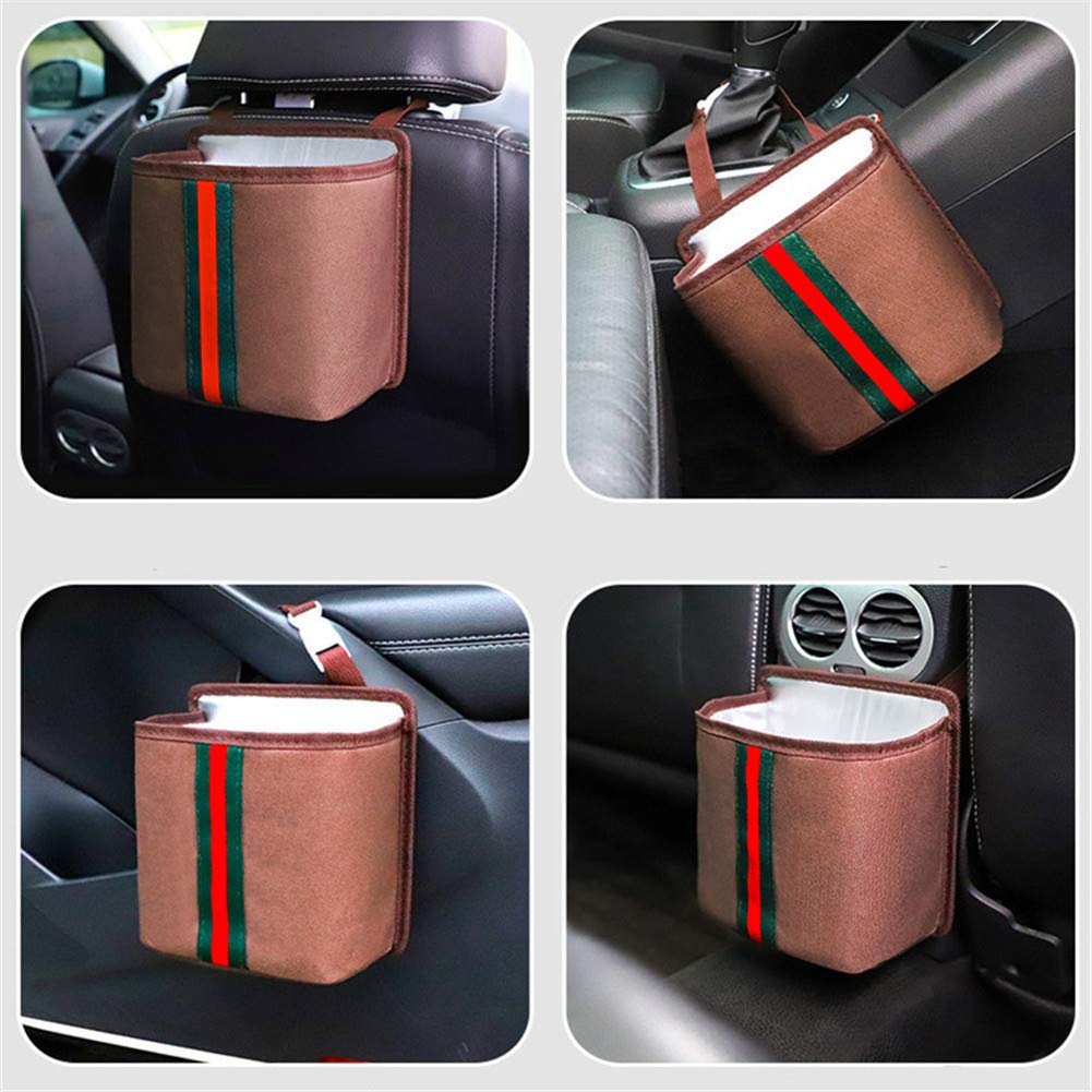 Yafeco Car Trash Can Portable Collapsible Universal Car Trash Bag Hanging with Storage Pockets Waterproof /& Anti-Leakage Garbage Can