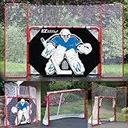 EZ Goal Folding Hockey Training Goal Net w/Backstop, Targets, & Shooter Tutor, Red/White, 2-