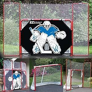 "2"" Steel Folding Hockey Goal with Backstop, Shooter Tutor & Targets"