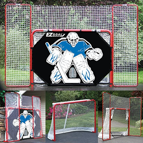 EZ Goal 2 in. Folding Steel Hockey Goal with Backstop - Shooter Tutor & Targets – (Lifetime Warranty On Goal Net) Hockey Target
