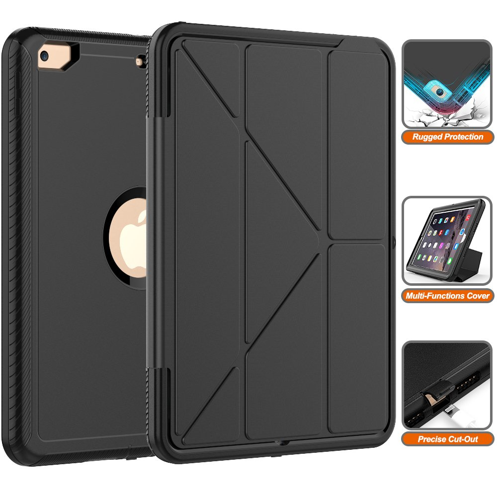 iPad 6th/5th Generation Case- Heavy Duty Full-Body [Smart Case] with Trifold Stand and Auto Sleep/Wake Dual Layer Protective Defense Cover for Apple iPad 9.7\'\' (2018/2017 Release) [All Black]