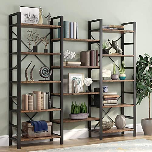 Tribesigns Rustic Triple Wide 5-Shelf Bookcase, 5 Tier Etagere Large Open Bookshelf Vintage Industrial Style Shelves Wood and Metal bookcases Furniture for Home Office, Retro Brown