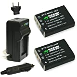 Wasabi Power KIT-BTR-NP95-LCH-NP60-01 Battery (2-Pack) and Charger for Fujifilm NP-95 and Fuji FinePix Real 3D W1, X100, X100