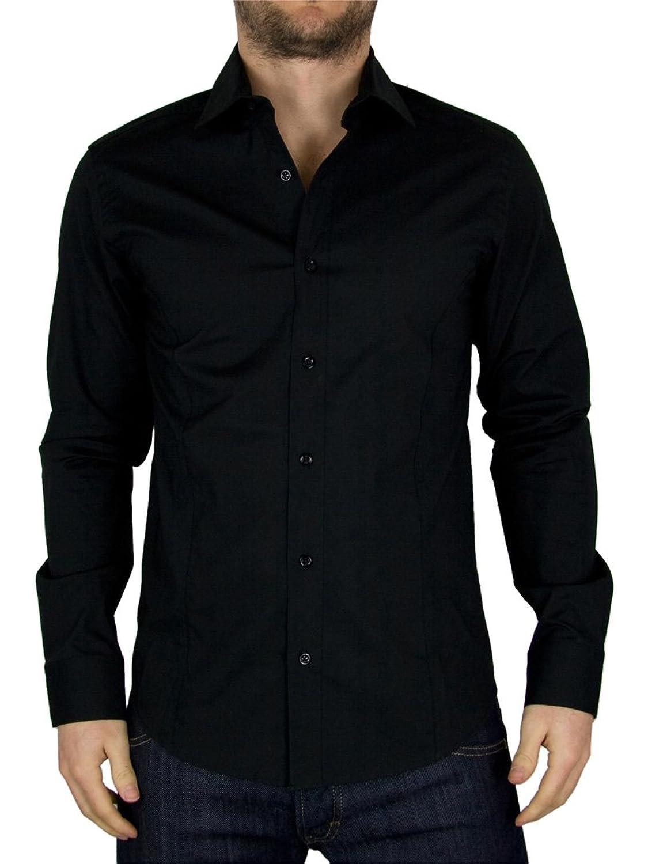 Guide London - Black Plain Stretch Shirt - Mens