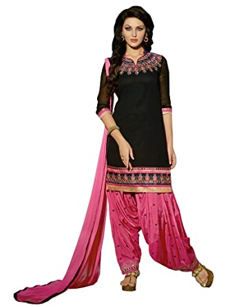 1e6915f776 Black Georgette Fancy Embroidered Heavy Worked Party Wear Patiala Salwar  Suit Unstitched Dress Materials: Amazon.in: Clothing & Accessories
