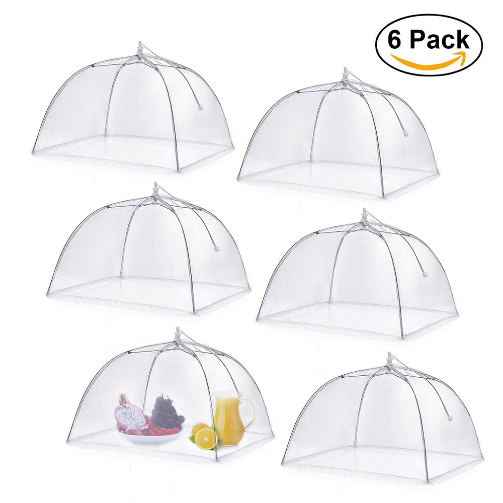 Food Cover Tent, Opamoo Pop-Up Mesh Cover Reusable and Collapsible Large Outdoor Mesh Table Cover Umbrella Screen Tents Protectors For Bugs, Parties Picnics, BBQs(6 Pack)