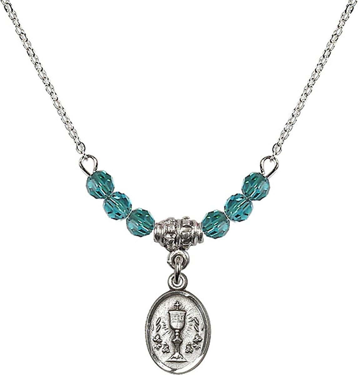 18 Inch Birth Month Colored Bead Necklace with First Communion Medal Charm