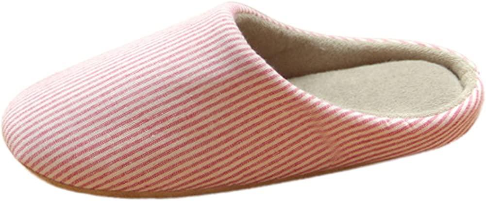 BUYITNOW Couple Women Cotton Home Indoor Slipper Stripes Linen Suede Sole Non-Slip Shoes