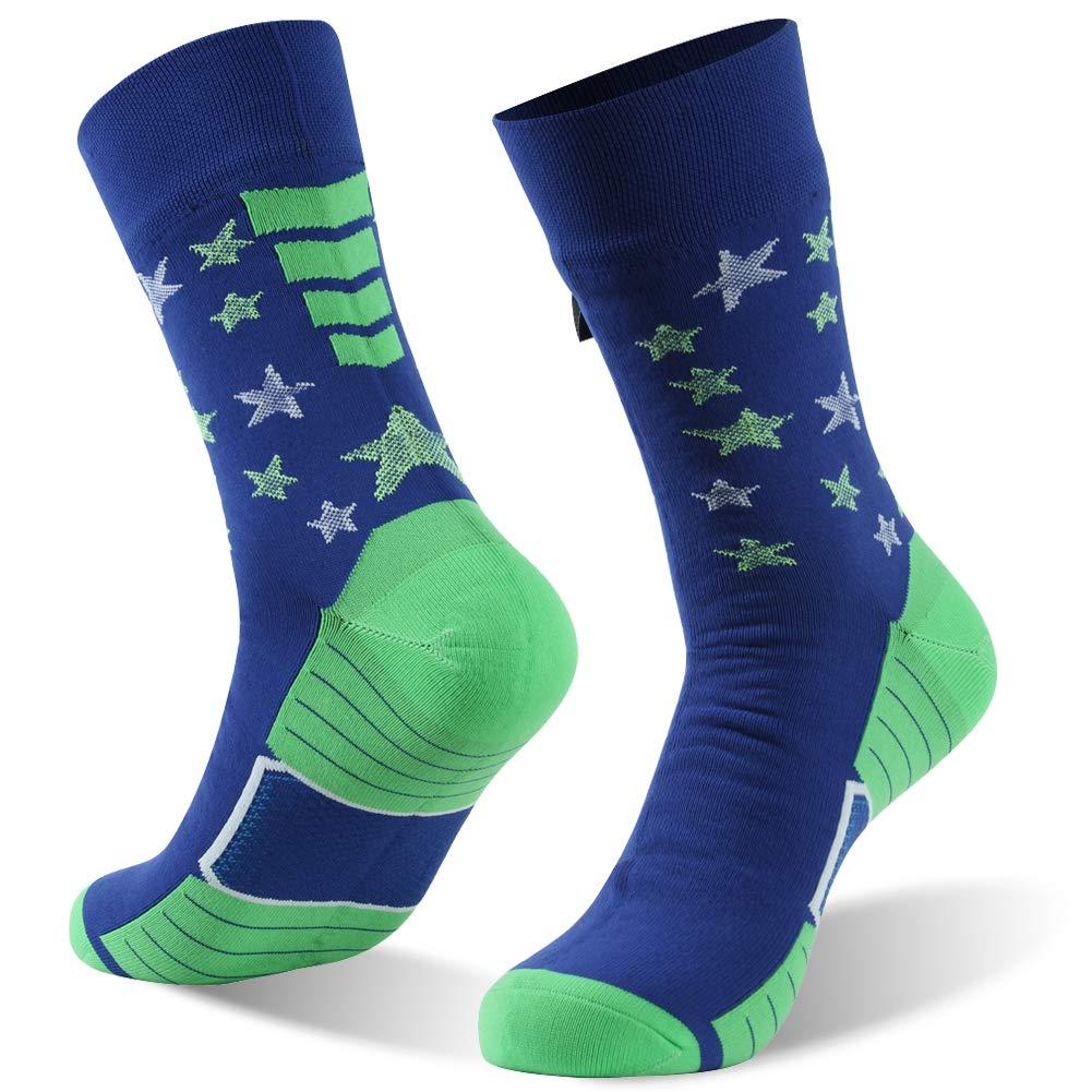 RANDY SUN 100% Waterproof Flag Luminous Socks, the Green Stars in Ankle will Shine in Dark,Women Men Socks, 1 Pair-Blue&Green-Mid Calf L by RANDY SUN