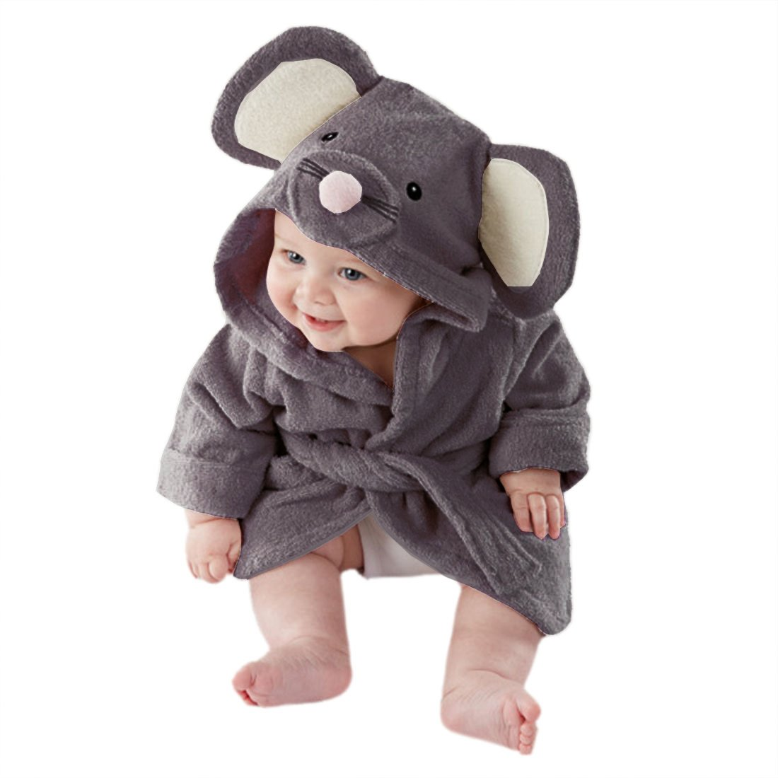 Casa Baby Hooded Bathrobe Nightgown Pajamas 3D Cartoon Animal Towel Girl Boy Bathrobe Cloak Ultra-Soft Fleece Kid Blanket 90-130cm