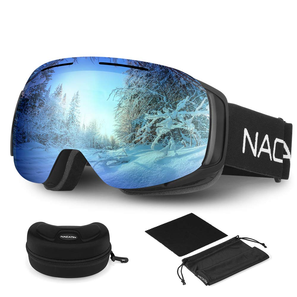 31ebf2642b0354 NACATIN Lunette de Ski OTG pour Homme et Femme, Masque de Ski, Anti-Buée,  Coupe-Vent, Lunettes de Snowboard,Anti-Reflets 100% Protection UV400  (Bleu)  ...