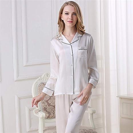 BUTTERFLYSILK Conjunto de Pijama de Mujer 100% Seda, Conjunto de Ropa de Dormir de Seda de Morera 2 Piezas, hipoalergénico,Blanco,XXL
