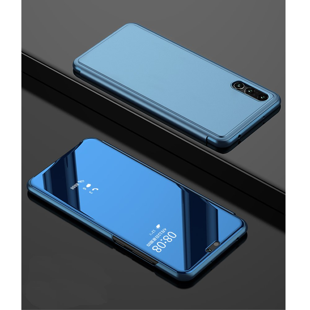 Leather Case with Stand for Huawei P Smart,Bookstyle Flip Case Cover for Huawei P Smart,Leecase Mirror Effect Clear Transparent View Gel for Huawei P Smart-Blue