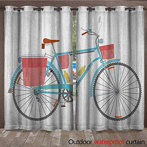 BlountDecor Bicycle Window Curtain Classic Touring Bike with Derailleur and Saddlebags Healthy Active Lifestyle TravelW108 x L108 Multicolor