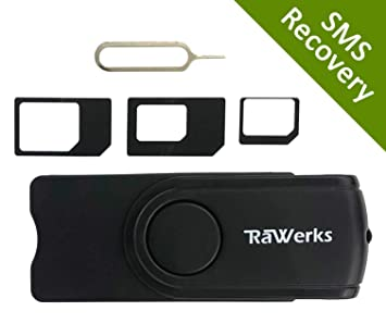 RaWerks SIM Card Reader with SIM Adapters, SIM Deleted Text Recovery Software, and SIM Editing Software