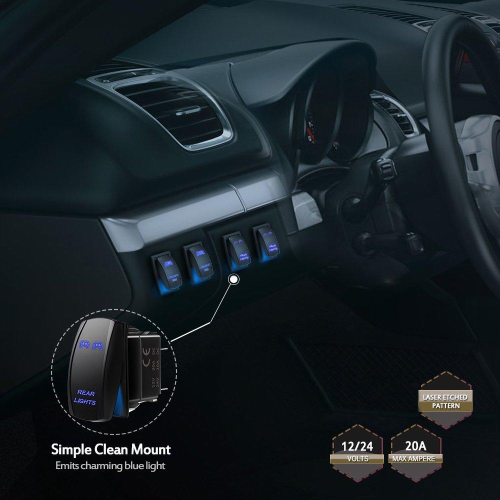 20A Green 12V MICTUNING LS081302Z Rear Lights Rocker Switch On-Off LED Light