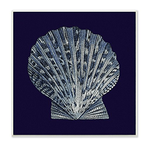Stupell Home Décor Distressed Navy and White Scallop Shell Wall Plaque Art, 12 x 0.5 x 12, Proudly Made in USA ()