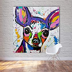 LIEFENGDAO Decorative Paintings Abstract Animal Canvas Art Chihuahua Dog Pop Art Wall Pictures for Living Room Home Decor Painting No Frame,20X20