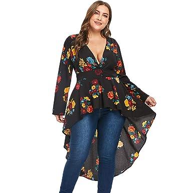 7749b4dcb57 BeautyGal Women s Plunge Neck High Low Hem Plus Size Floral Blouse Tops L
