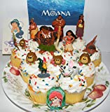 Disney Moana Movie Deluxe Mini Cake Toppers Cupcake Decorations Set of 14 with 12 Figures, a Sparkle Ring and Tattoo Sheet Featuring the Newest Disney Princess Moana!