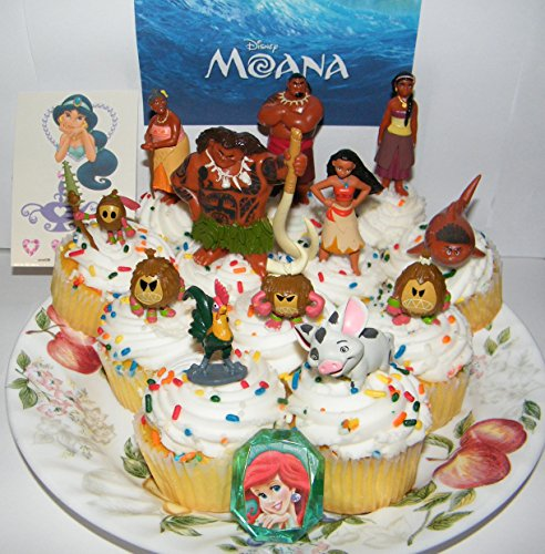 Disney Moana Movie Deluxe Mini Cake Toppers Cupcake Decorations Set Of 14 With 12 Figures  A Sparkle Ring And Tattoo Sheet Featuring The Newest Disney Princess Moana