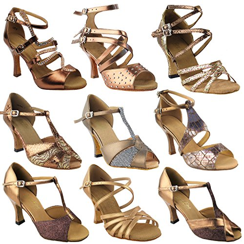 ~50 Shades amp; Latin S9206 Comfort Swing Dress Shoes Party Heels 2 Tango Bronze Pumps Evening Women Theather of Salsa Collection Dance Shoes Party Art Vegan 3