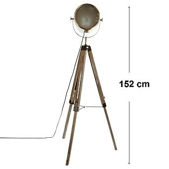 Lampadaire projecteur en métal et trépied en bois Style Cinéma