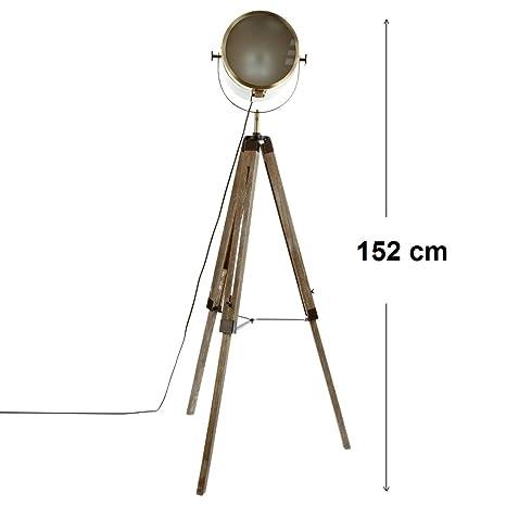 Lámpara proyector de metal y trípode de madera - Estilo Cine ...