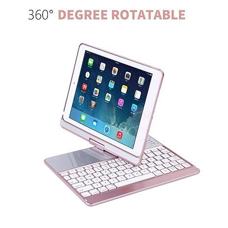 """Funda Teclado para 2018 iPad 9.7""""6"""" Gen-Backlit Teclado inalámbrico Bluetooth Folio"""