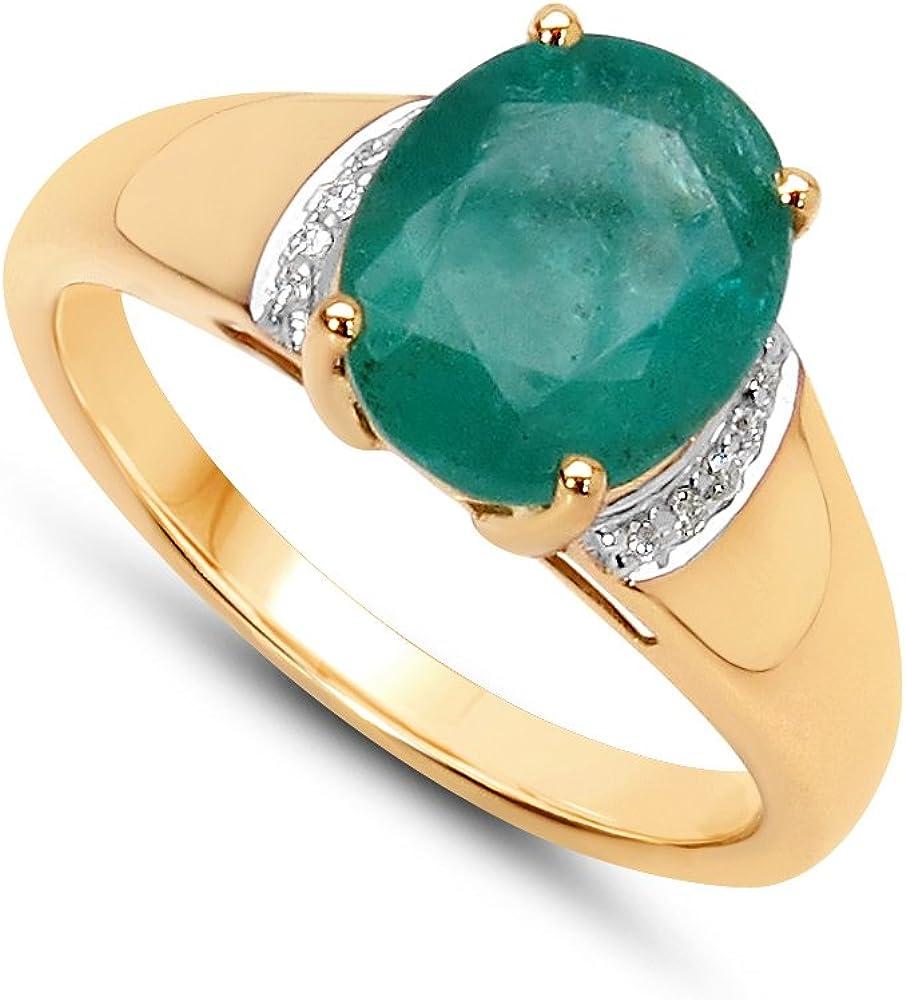 Jaipuri.Instyle by Tricolour - Anillo de mujer - oro amarillo 585/1000 - auténtico piedras preciosas: Emerald ca. 2.6ct. - R18099ZEWD_14KYG