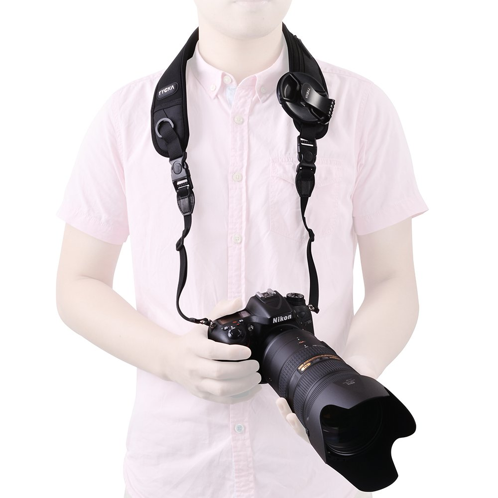 Tycka Camera Sling Belt, Camera Neck Strap, nonslip breathable sweatproof and ergonomic pad, equipped within quick release disconnect and lens cap keeper, ideal for DSLRs, heavy cameras and binoculars