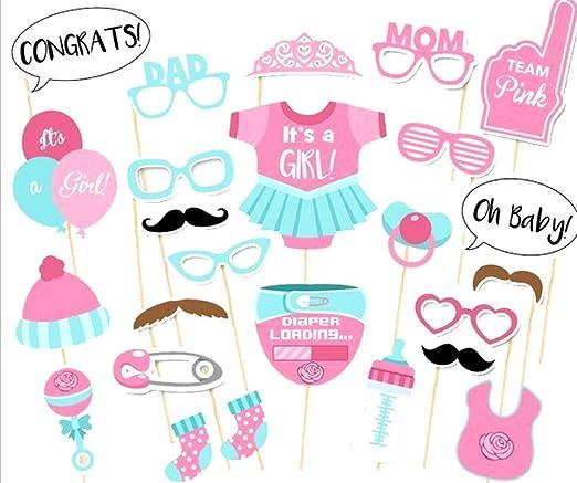 Kentop 25pcs Niña bebé Ducha Fotomatón Apoyos Photocall para Partido Cumpleaños