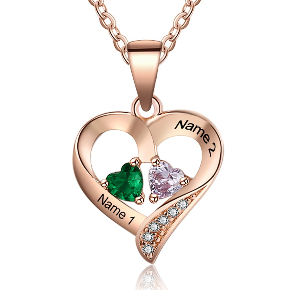 Love Jewelry Personalized 2 Names Necklace with 2 Heart Simulated Birthstone Couple Pendant Necklace for Women (Rose Gold)