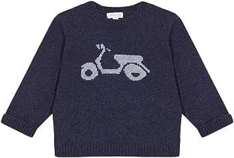 Gocco Jersey Marino con Intarsia de Moto Suéter cárdigan Unisex bebé