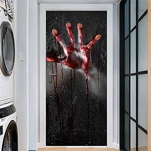 Halloween Horror Bathroom 3D Door Stickers- 30 × 80 Inch Lifelike Bloody Hand On Bathroom Door Sticker Vivid Door Wallpaper Adhesive Murals Decals for Halloween Party Bathroom Door Gate Decor