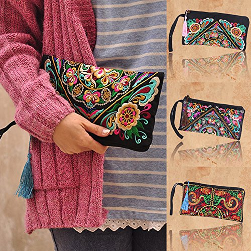 ETOSELL Lady Handbag Purse Handmade Nation Retro Embroidered Bag Wallets Zip Wristlets by Etosell (Image #3)
