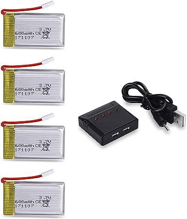 MPTECK @ 4X batería lipo de repuesto 3,7V 600mAh con 4 en 1 cargador para RC cuadricóptero Syma X5 x5C x5C-1 X5SC X5SW Drone: Amazon.es: Electrónica