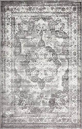 Traditional Persian Vintage Design Rug Gray Rug 4' 11 x 8' FT (244cm x 152cm) Sofia Area Rug Inspired Overdyed Distressed Fancy