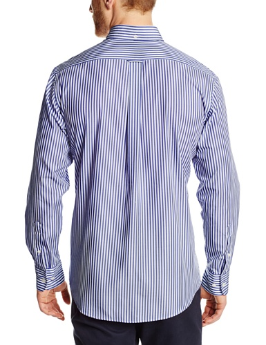 Faconnable Men's Bengal Striped Woven Shirt, Sky Blue, Large