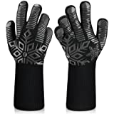 Sungwoo BBQ Gloves, 1472℉/800℃ Extreme Heat Resistant Gloves, Ultra-Long Wrist Guard Silicone Non-Slip Oven Gloves for Barbec