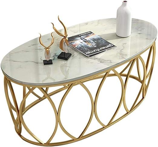 KUKU-mesas de centro Mesa de Centro de mármol Oval, Bandeja de ...